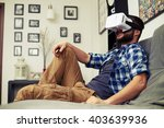 young caucasian man resting on... | Shutterstock . vector #403639936
