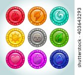 colorful cartoon medallions...