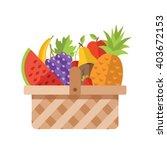wicker basket full of fruits.... | Shutterstock .eps vector #403672153