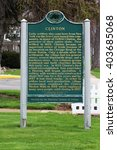 Small photo of CLINTON, MICHIGAN/USA â?? APR 5, 2016: Michigan Historic Site Clinton MI. Named after NY governor DeWitt Clinton it became an important trade center due to its location on Chicago Rd at River Raisin.