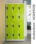 photo of green lockers in the... | Shutterstock . vector #403699258