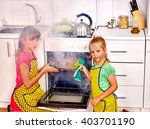 Children With A Burnt Cooking...