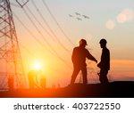 silhouette engineer looking... | Shutterstock . vector #403722550