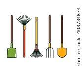 Line Vector Garden Tools....