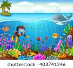 cartoon diver under the sea | Shutterstock .eps vector #403741246