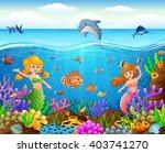 cartoon mermaid under the sea | Shutterstock .eps vector #403741270