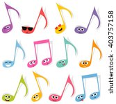 set of cute colorful note...