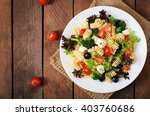 pasta salad with tomato ... | Shutterstock . vector #403760686