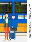 woman standing with suitcase... | Shutterstock .eps vector #403761979