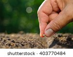 close up farmer's hand planting ... | Shutterstock . vector #403770484