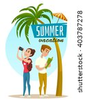 concept with couple of tourists ... | Shutterstock .eps vector #403787278