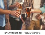 male group clinking glasses of... | Shutterstock . vector #403798498