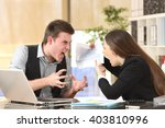 two angry businesspeople... | Shutterstock . vector #403810996