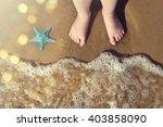 legs of children stand on the... | Shutterstock . vector #403858090