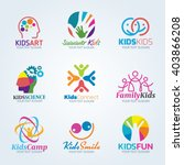 colorful kids art logo vector... | Shutterstock .eps vector #403866208