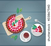 cake plate cup tea coffee... | Shutterstock .eps vector #403867540