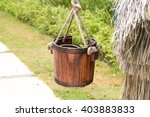 Wooden Bucket With  Rope Handl...