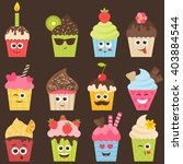 set of cute cupcakes | Shutterstock .eps vector #403884544