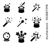 vector black magic icons set....