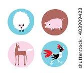 fun farm animals icon. cartoon... | Shutterstock .eps vector #403909423