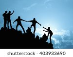 group of people on peak... | Shutterstock . vector #403933690