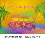 hippie vintage car a mini van... | Shutterstock .eps vector #403940746