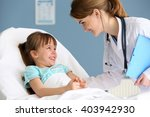 doctor and little girl in the... | Shutterstock . vector #403942930