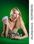 young woman in casino gambling... | Shutterstock . vector #403958050