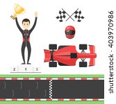 sport race set  track  flags ... | Shutterstock .eps vector #403970986