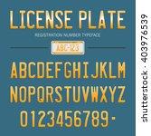 license plate  1   typeface... | Shutterstock .eps vector #403976539
