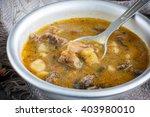 vegetarian mushroom soup in a...