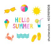 colorful summer icons set. cute ... | Shutterstock .eps vector #403989808