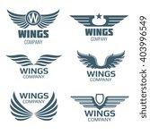 Vector Wings Logo Set. Winged...