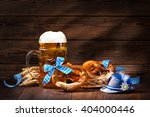 original bavarian pretzels with ... | Shutterstock . vector #404000446
