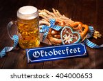 original bavarian pretzels with ... | Shutterstock . vector #404000653