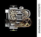 b isolated metal letter with... | Shutterstock . vector #404005690