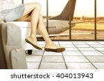 brown shoes and airport and... | Shutterstock . vector #404013943