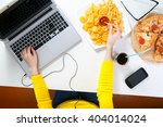 pretty young woman working at... | Shutterstock . vector #404014024