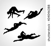 set of silhouettes of swimmers... | Shutterstock .eps vector #404046388
