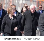 Small photo of NEW YORK CITY - APRIL 10 2016: Democratic presidential candidate Bernie Sanders addressed supporters on the Coney Island boardwalk. Candidate with spouse, Jane O'Meara Sanders