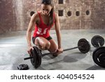 young fitness woman preparing... | Shutterstock . vector #404054524