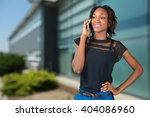 casual businesswoman using phone | Shutterstock . vector #404086960