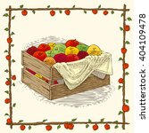 Wooden Box With Ripe Apples In...
