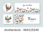 invitation cards set with... | Shutterstock .eps vector #404125240