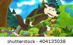 cartoon scene of wolf running...   Shutterstock . vector #404135038