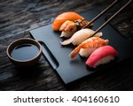 close up of sashimi sushi set... | Shutterstock . vector #404160610