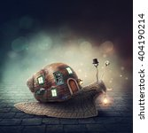 snail with a shell house with... | Shutterstock . vector #404190214
