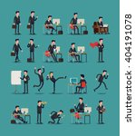 Large vector set of businessman character poses, gestures and actions. Office worker professional standing, walking, talking on phone, working, running, jumping, searching, and more. | Shutterstock vector #404191078