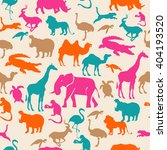 Stock vector colorful pattern african animals seamless 404193520