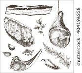 vector steak meat hand drawing... | Shutterstock .eps vector #404196328